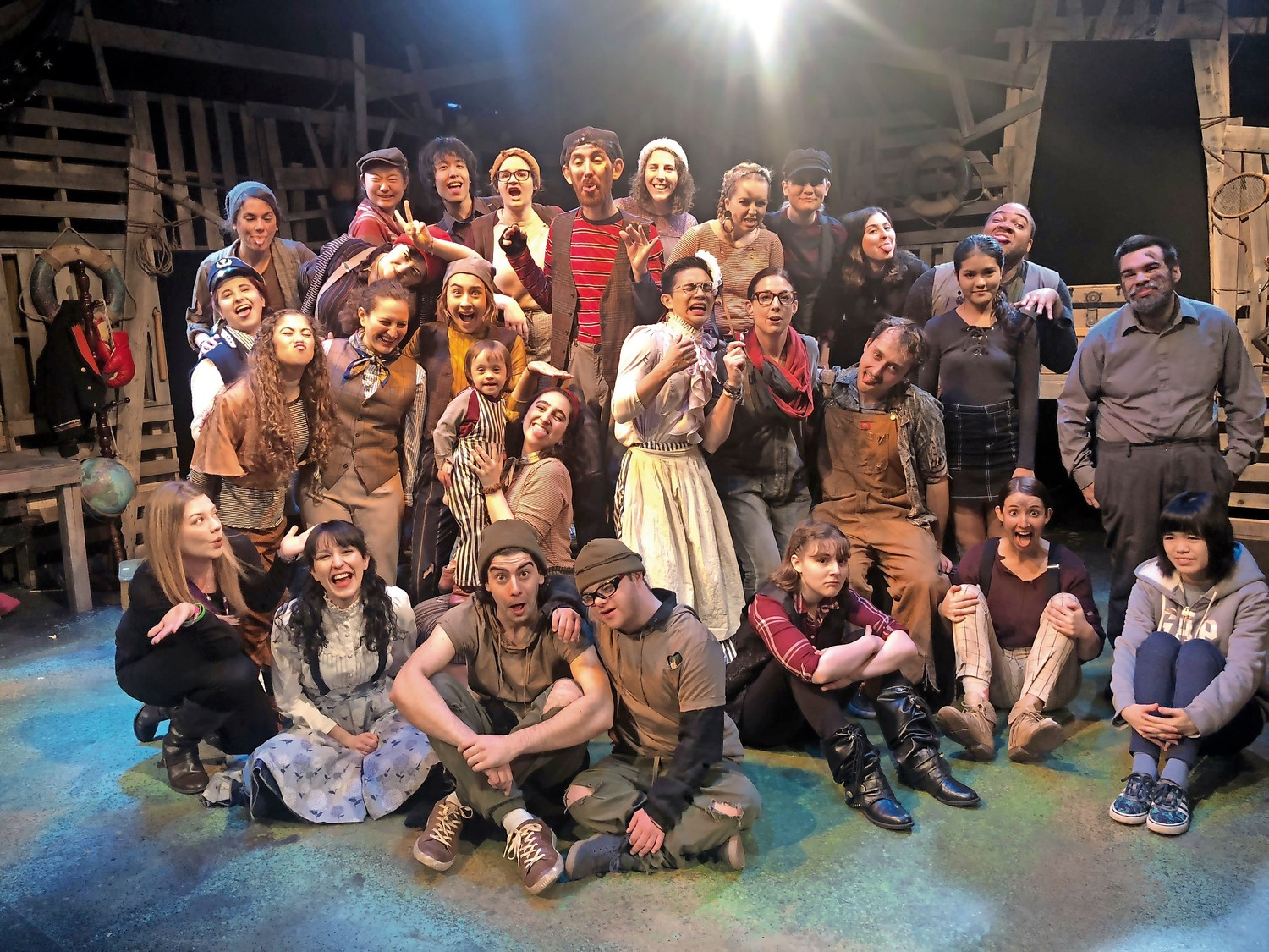 "The cast of ""Peter and the Star Catcher"" at New York University Educational Theater. Sean McGowan is fourth from left at bottom."