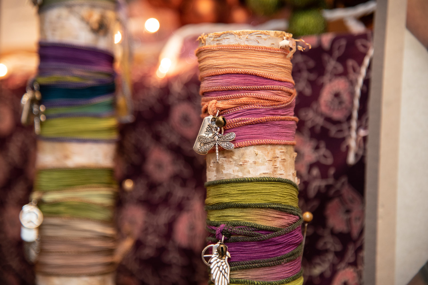 "Rein some power with ""Peace Warrior"" silk wrap bracelets, which are available at the boutique."