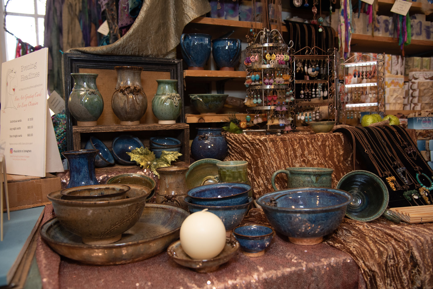 Shop from home goods, such as artisan tableware, at the holiday boutique.