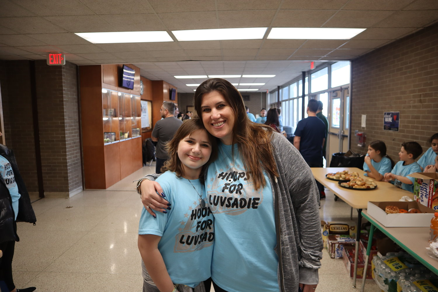 Sadie Freifeld and her mother, Beth, at last Sunday's Hoops for Sadie event.
