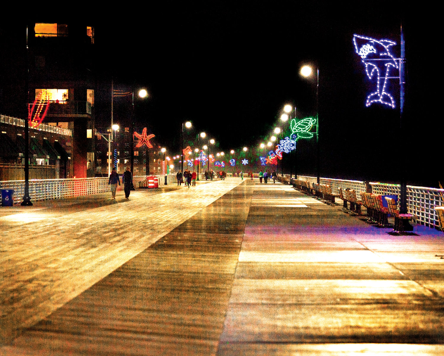 The city placed nautical-themed holiday lights along the boardwalk in 2013 as part of an economic development initiative after Sandy.