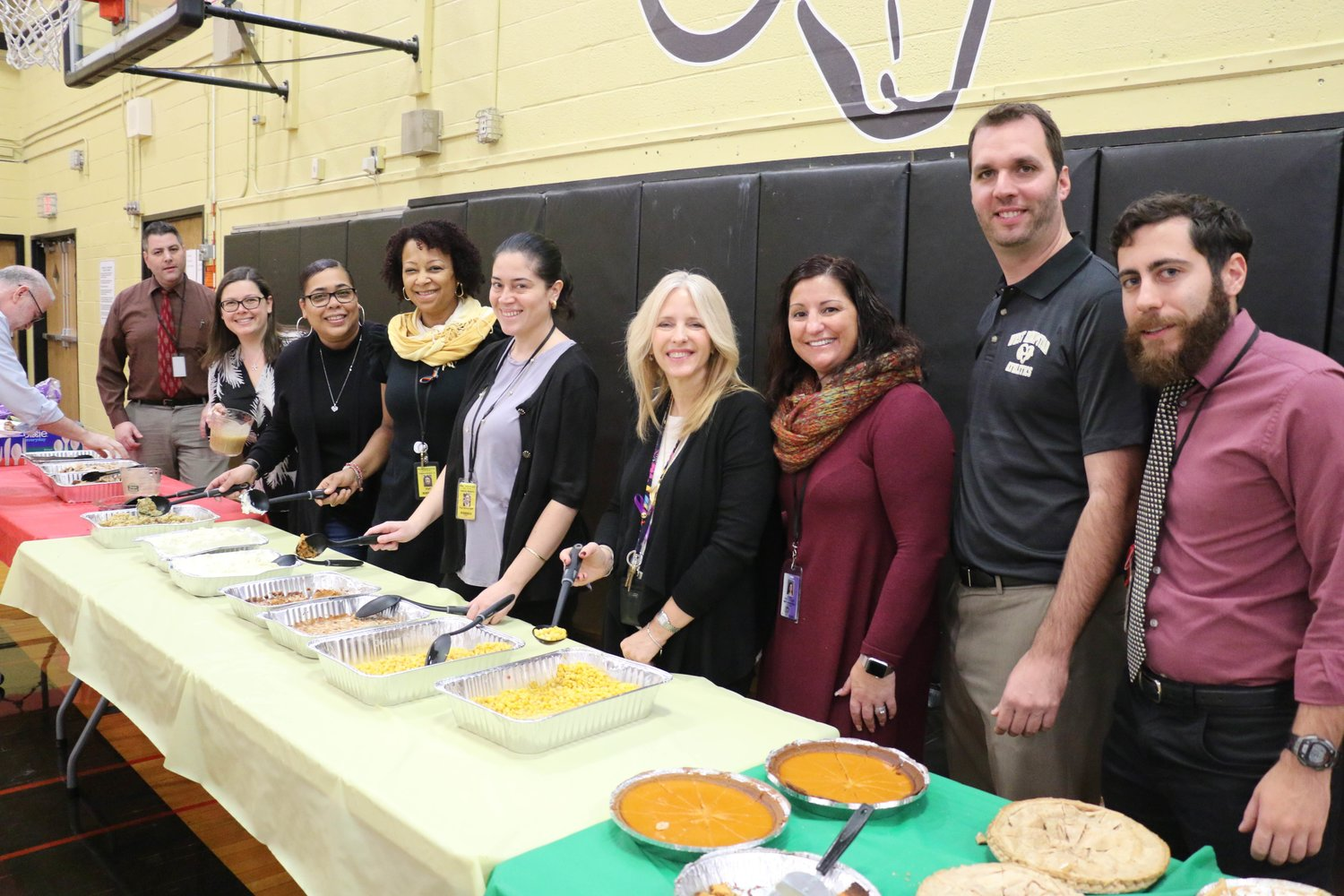 The West Hempstead English as a New Language staff members were all smiles during the department's annual Thanksgiving luncheon on Nov. 21.