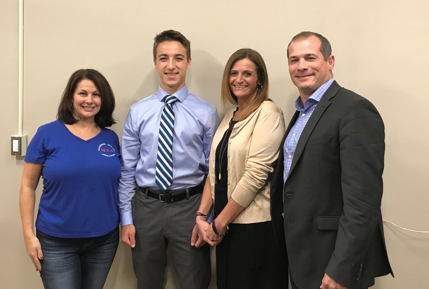 Malverne High School senior Jack Cecere second from left, was recognized by guidance counselor Laura Pulitano, left, Director of Guidance for kindergarten through 12th grade Rebecca Gottesman and MHS Principal Dr. Vincent Romano for being named a 2018-19 National Hispanic Recognition Scholar.