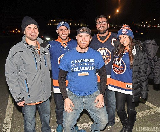 Bellmore residents, from left, Logan Strausman, Jordan Domnitch, Matt Horowitz, Daniel Domnitch and Jamie Bornstein were on hand to support the Islanders last Saturday night.