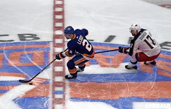 Isles defenseman Nick Leddy had a step on Columbus' Brandon Dubinsky.