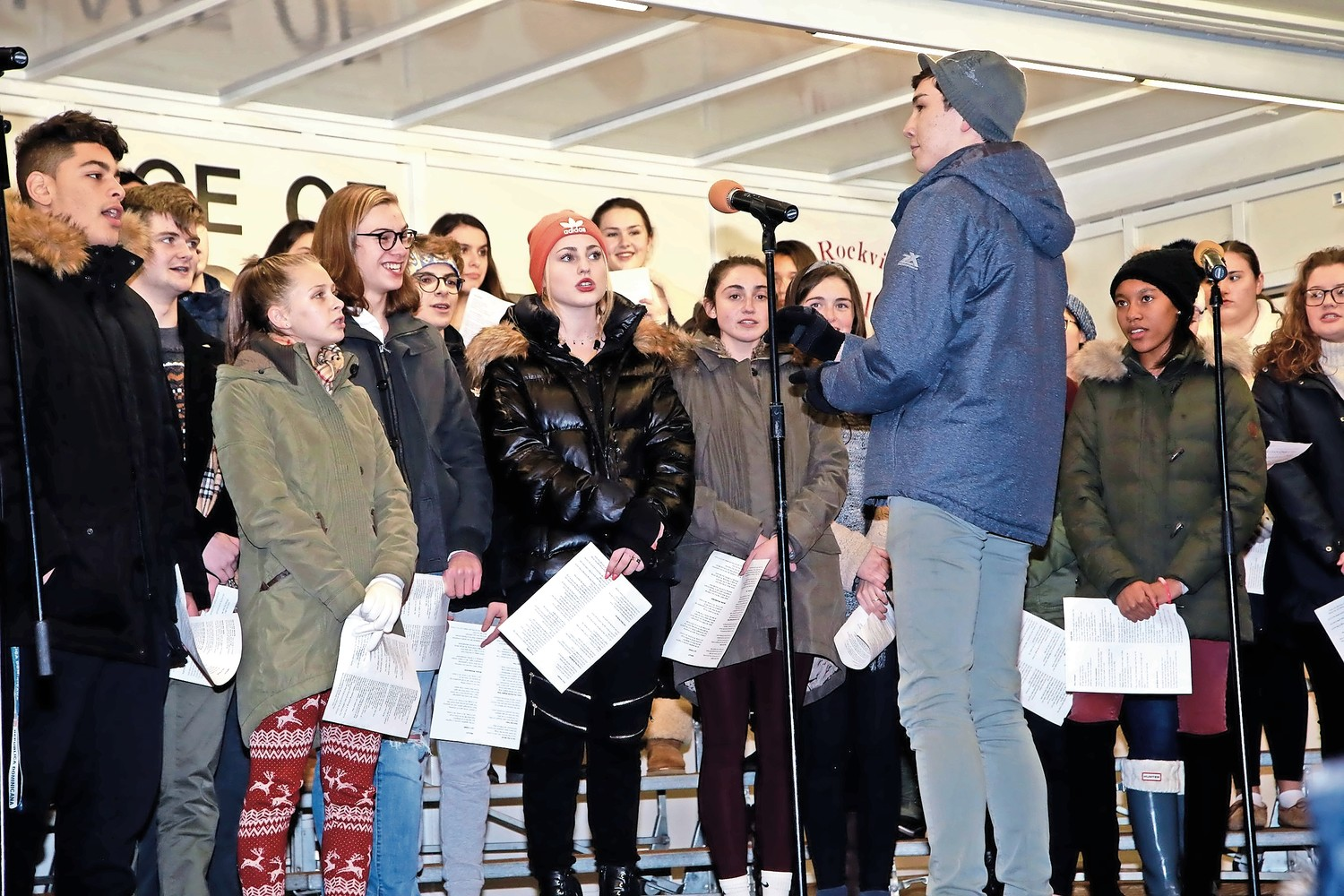 South Side High School students sang Christmas carols at the tree lighting.