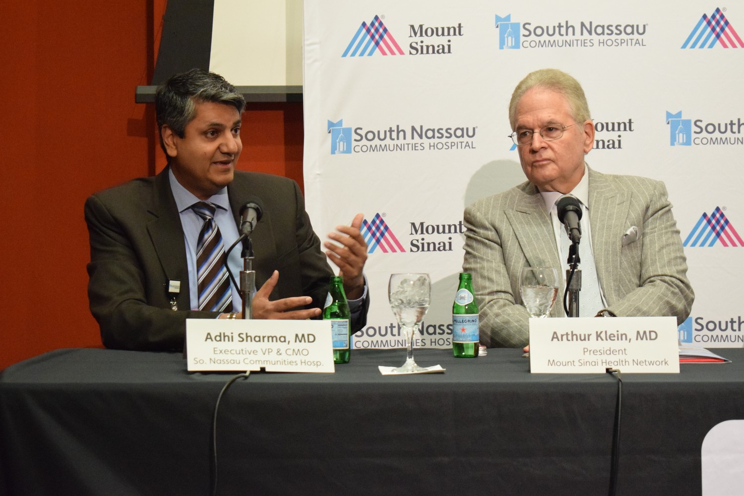 SNCH Vice President and Chief Medical Officer Adhi Sharma, left, and Mount Sinai President Dr. Arthur Klein each explained the long- and short-term goals of the partnership.