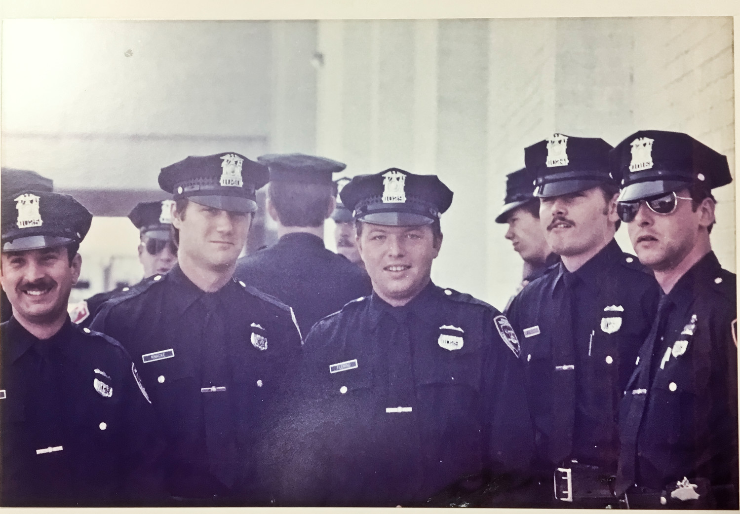 Neve, far left, in a photo from his graduation from the Nassau County Police Academy in June 1977 with, from left, Gary Knacke, James Fleming, Richard Neidecker and John Curtis.