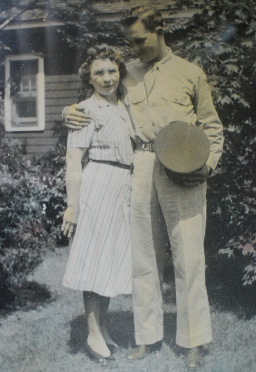 Bob Wieboldt with his mother, Emma, at their Kenny Avenue home in Merrick during World War II.