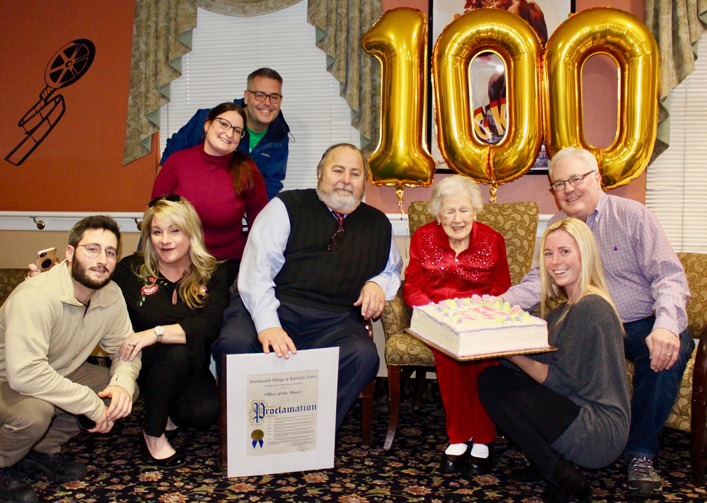 Rockville Centre Mayor Francis X. Murray honored McAteer at the celebration. Great-grandson Brian Gottlieb, grandson Tom McAteer, grand-daughter-in-law Sarah McAteer, granddaughter Jennifer Gottlieb, son Ray McAteer and Maple Pointe staffer Dani Laino also attended.