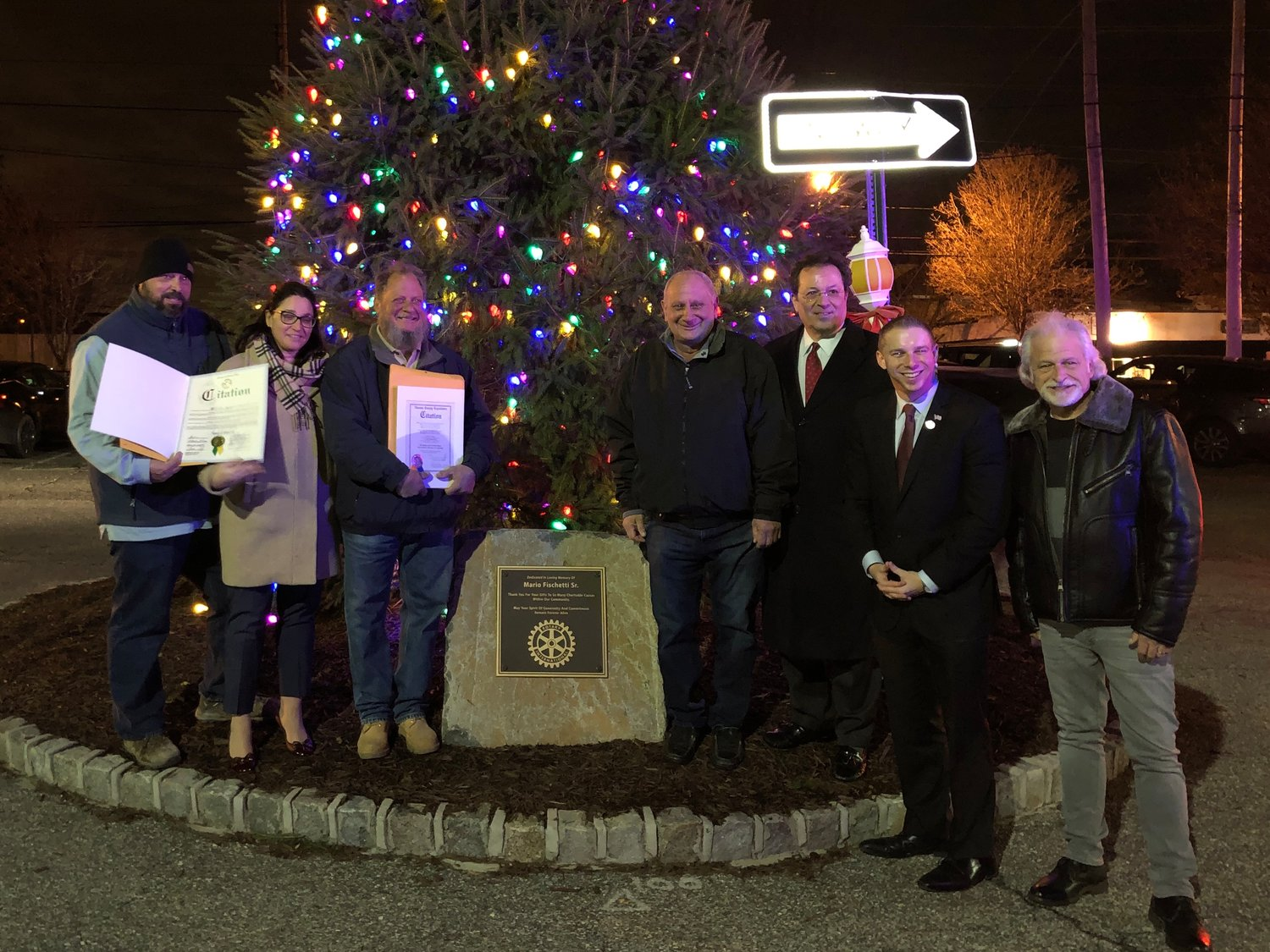 Local officials honored the Fischetti and Papiro families with citations to honor their hard work.