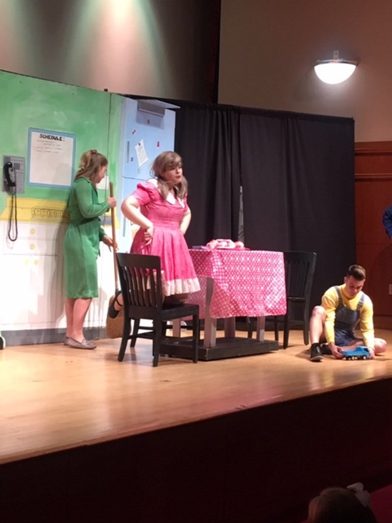 Madison Wyatt, left, Kayla Clements and Chris Weiss starred in the Plaza Theatrical Productions show 'Pinkalicious' at the Hewlett-Woodmere Public Library in Hewlett on Nov. 23.