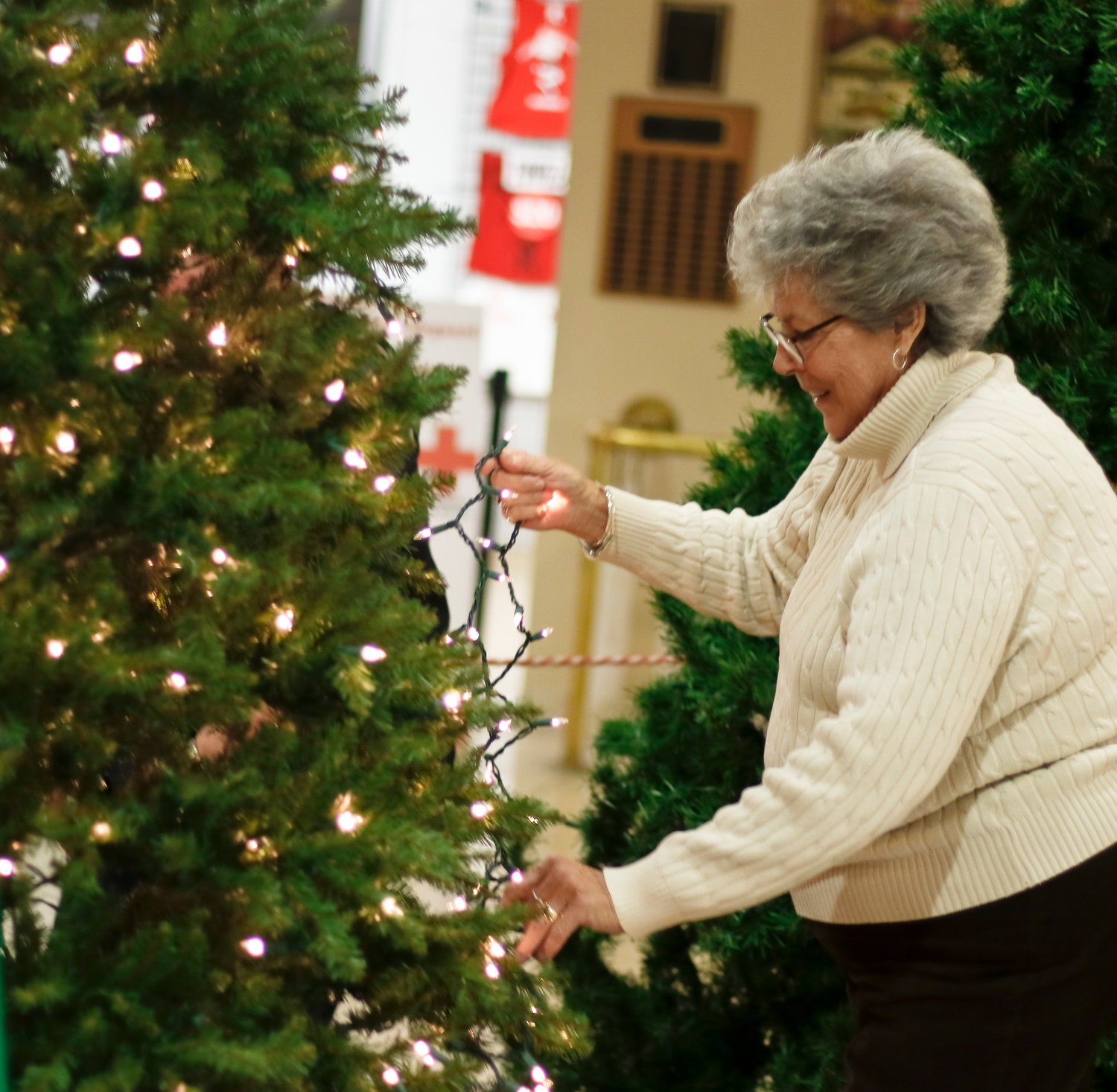 For the second year in a row the Long Island Quilters decorated a tree at the Recreation Center. Susan Merkle helped wrap the tree with sparkly lights.