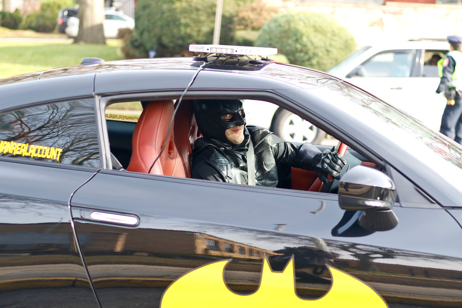 It wasn't a red sleigh but the Bat Mobile also helped deliver toys to the kids at Freeport High School during the Toys of Hope event.