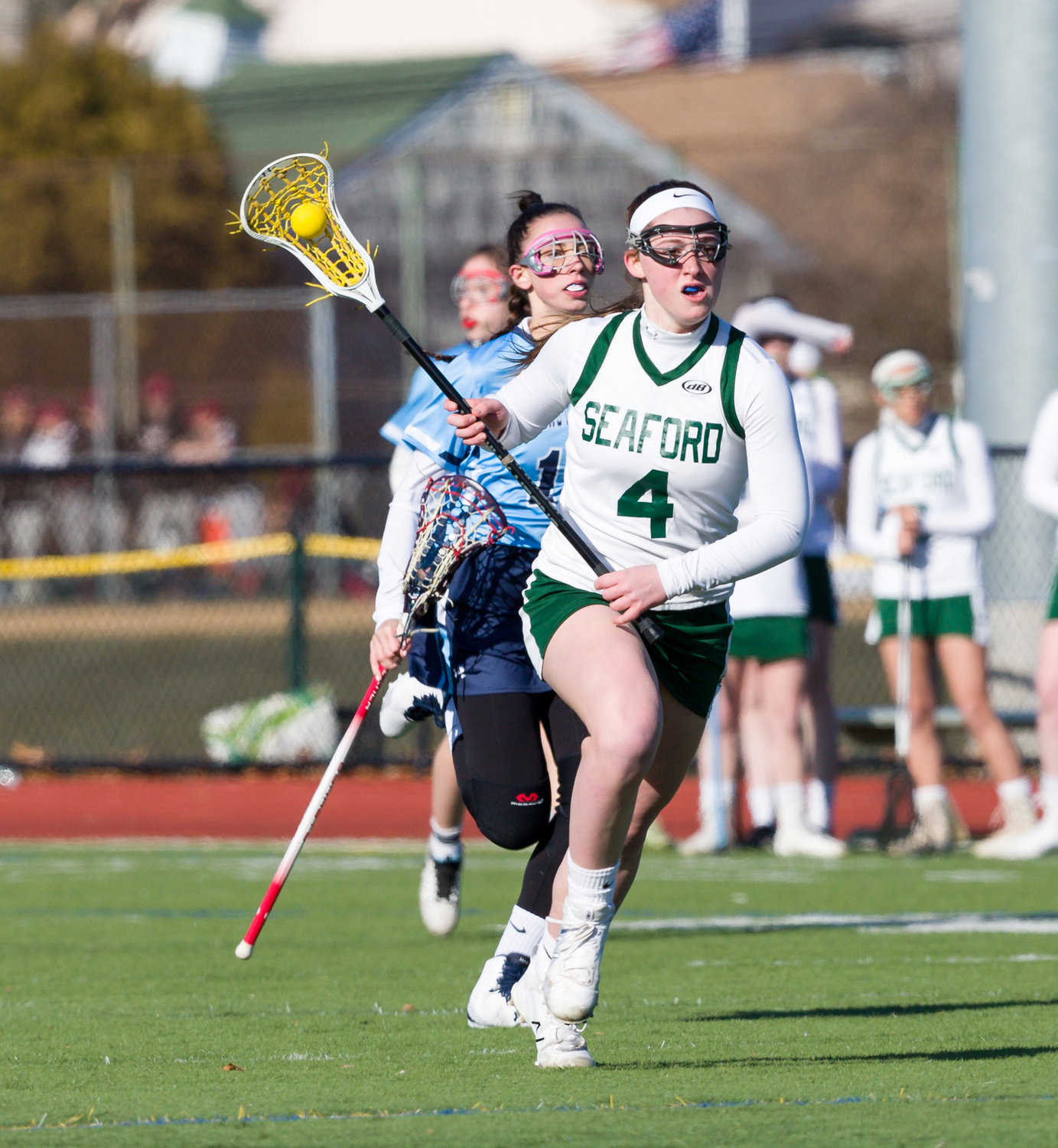 LIU Post-bound Gina Toscano scored three goals in last season's lacrosse opener against Our Lady of Mercy.