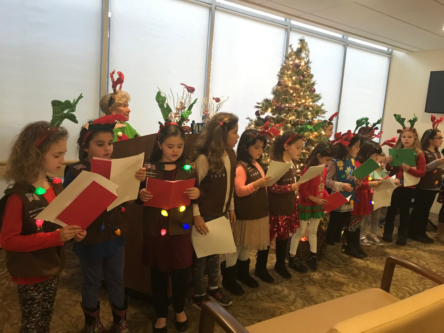 Daisies, Brownies and Girl Scouts entertained the crowd, sharing their love of the holidays at Glen Cove Hospital Auxiliary's tree lighting last Friday.