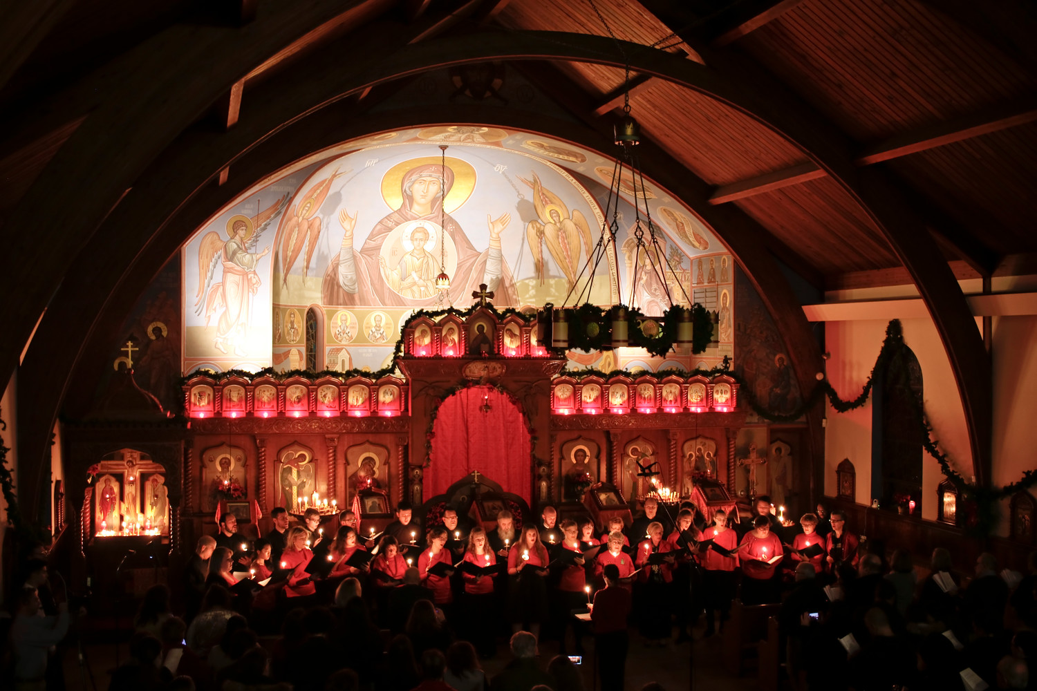 Candles were lit and the audience stood for a beautiful performance of Silent Night by the Holy Trinity Parish Choirs and the Saint Vladimir's Seminary Chorale.