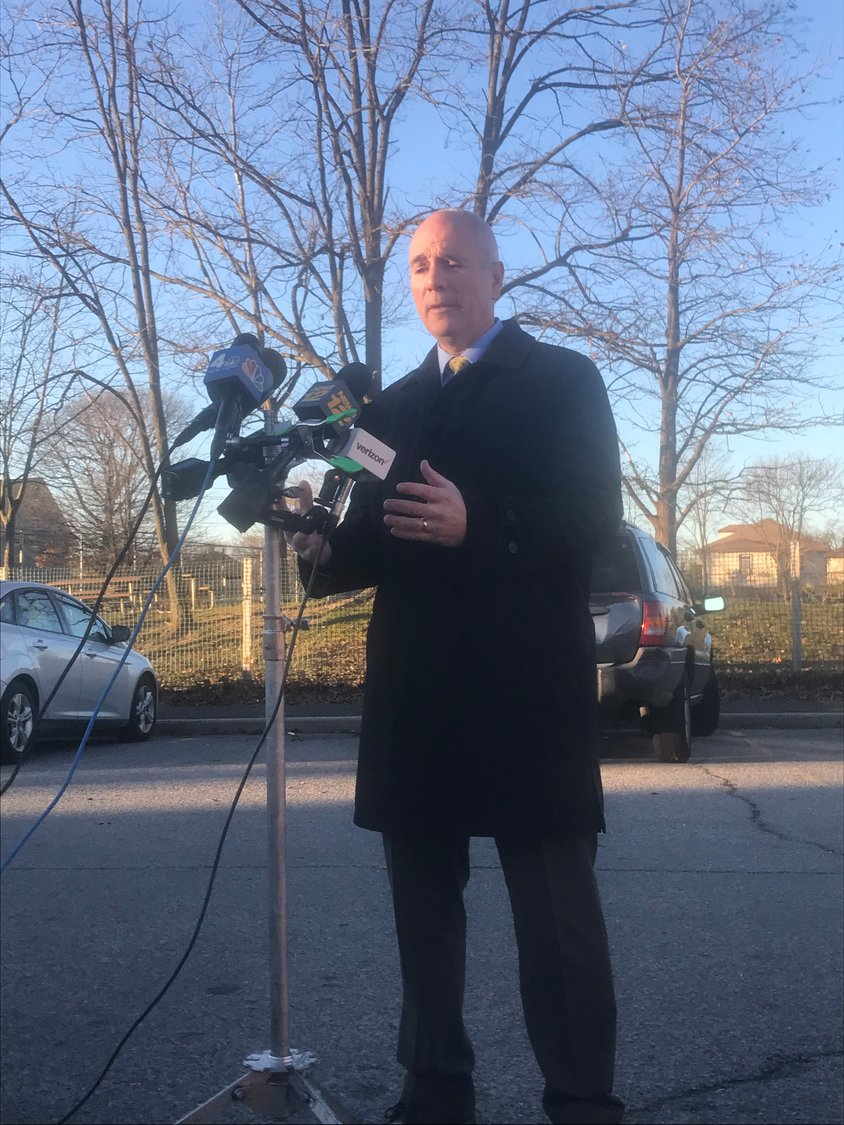Nassau County Police Department Lt. Richard Lebrun spoke to the media outside the Five Towns Community Center in Lawrence, where Harold B. Sermeno, 17, was found shot dead on Dec. 18.