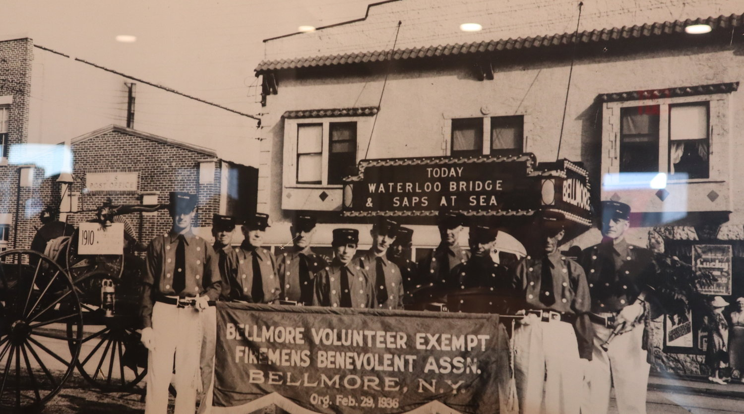 The Bellmore Firemens Benevolent Association in front of Bellmore Movies in the late 1930s.