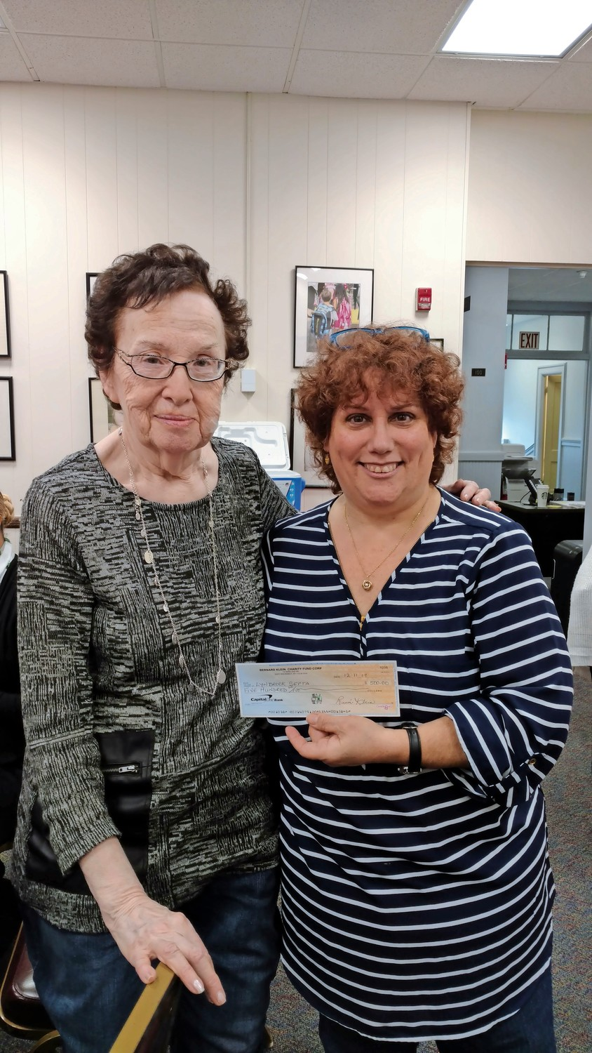 Mindy Ross-Knaster, right, said that Klein stepped in to help her after her mother died eight years ago, and recently donated $500 to the Lynbrook Special Education PTA, of which Ross-Knaster is  a member.