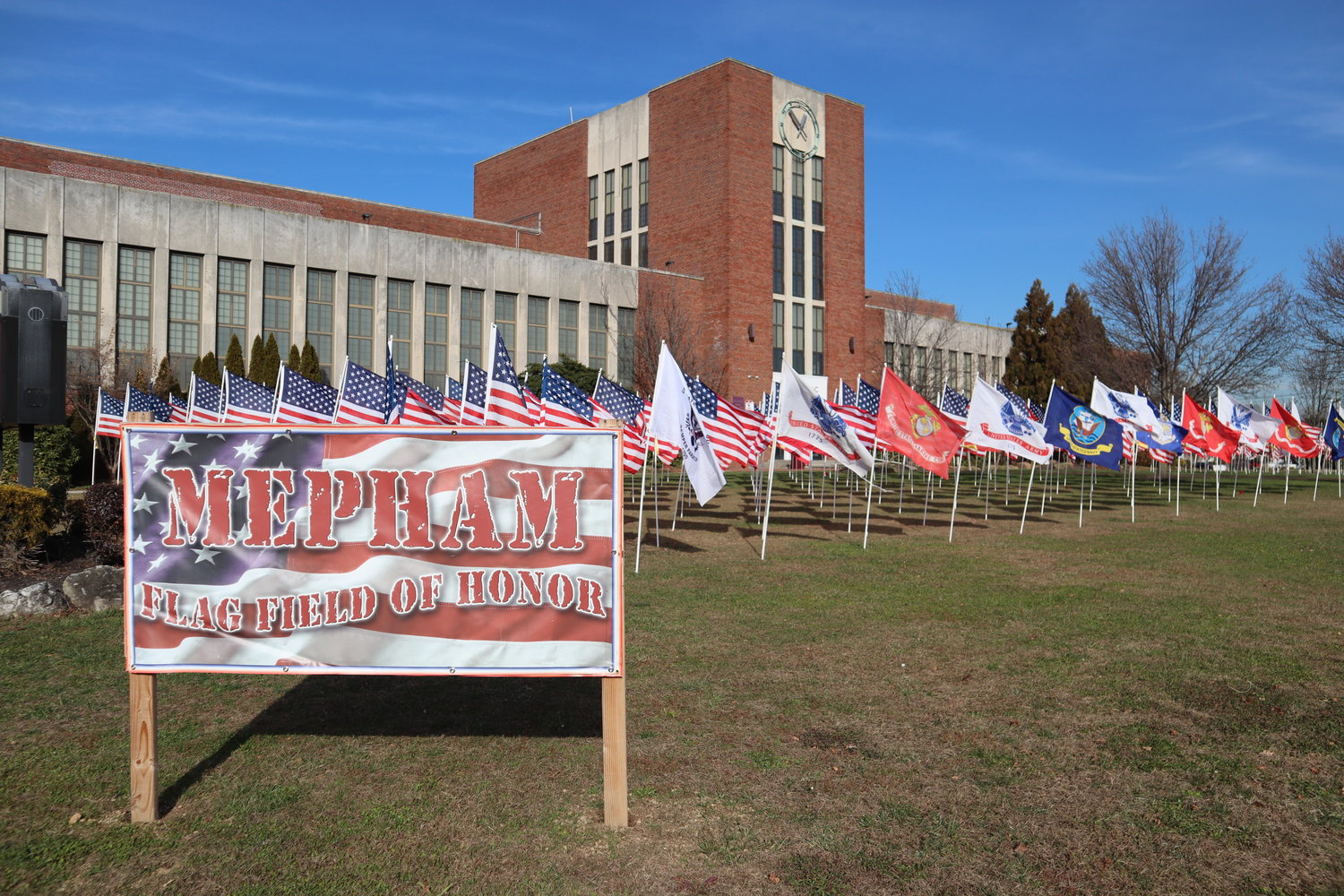 Mepham High's front lawn was covered with flags for its Flag Field of Honor.