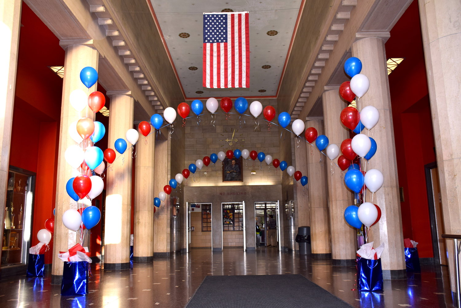 The front lobby of Mepham High was decorated with patriotic balloons to welcome retired U.S. Navy Petty Officer Ryan Shannon.