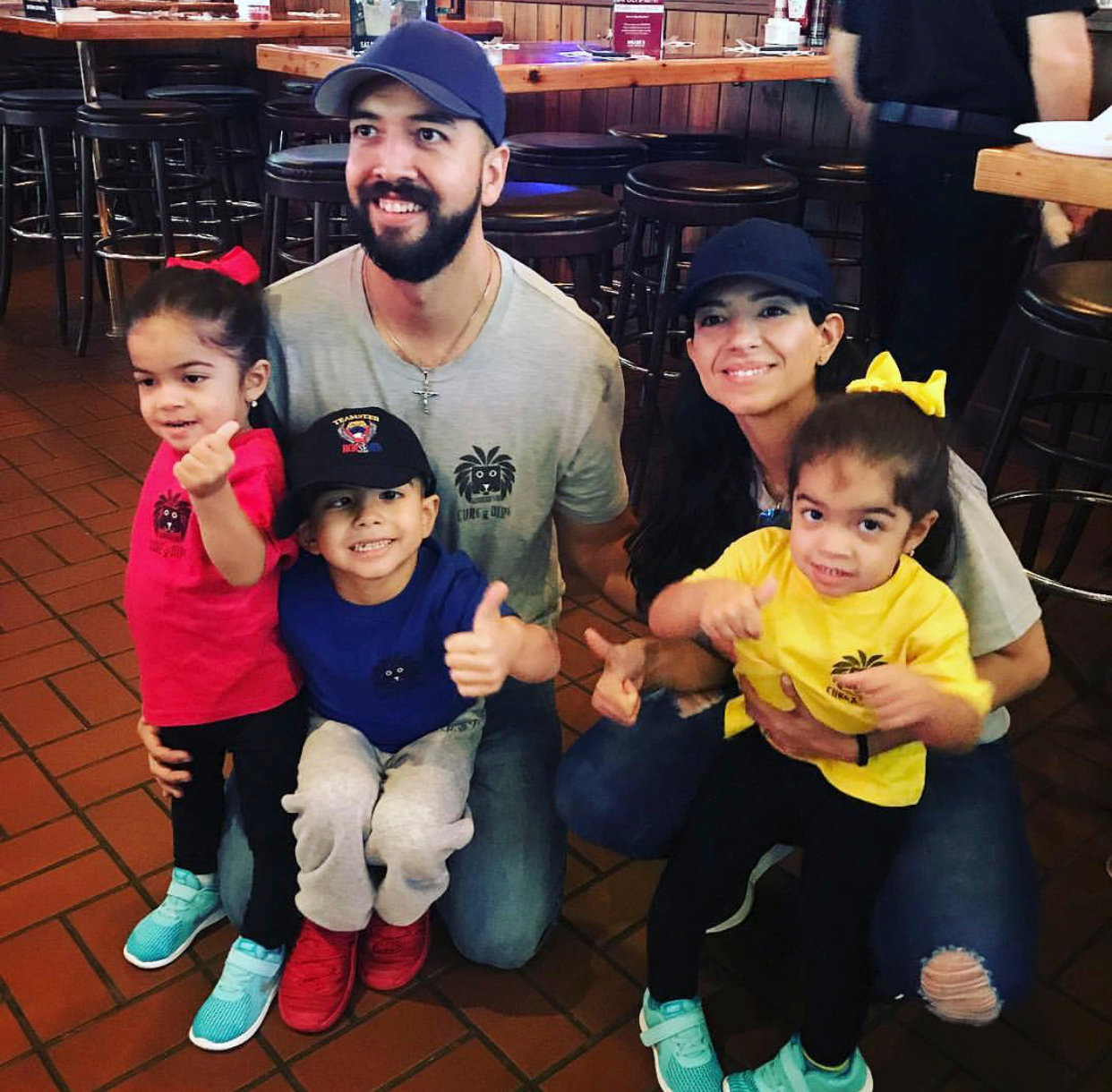 Luis has undergone more than 30 radiation treatments. Clockwise from bottom right, sister Sophia, 3; Luis III; sister Ava, 3; father, Luis Jr.; and mother, Karla.