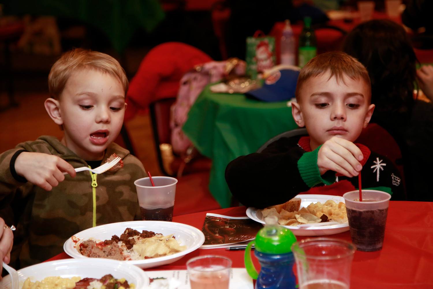 Wyatt Westby, 4, and his big brother Leyland, 7, enjoyed dinner before opening toys.