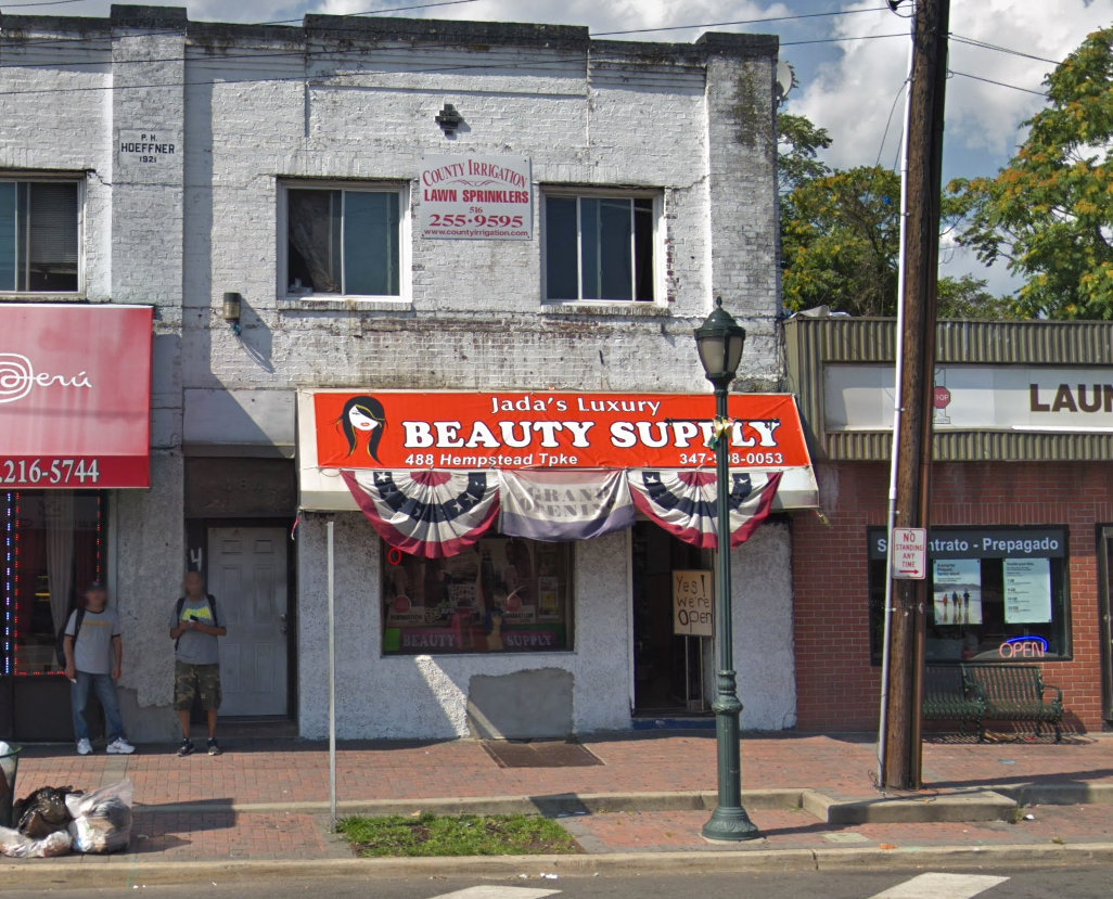 Police report that two men robbed an Elmont beauty supply shop at gunpoint.