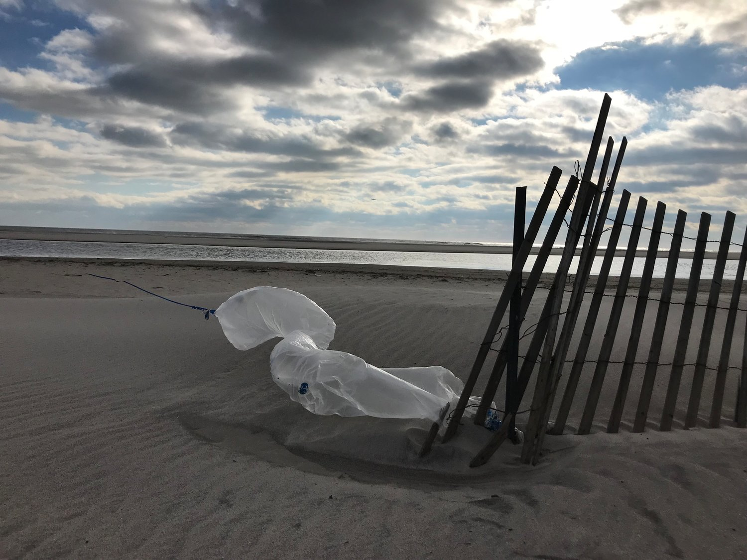 Jones Beach gets thousands of visitors during the summer, but during the winter months its practically vacant and plastic bags can be seen lingering on the sand.