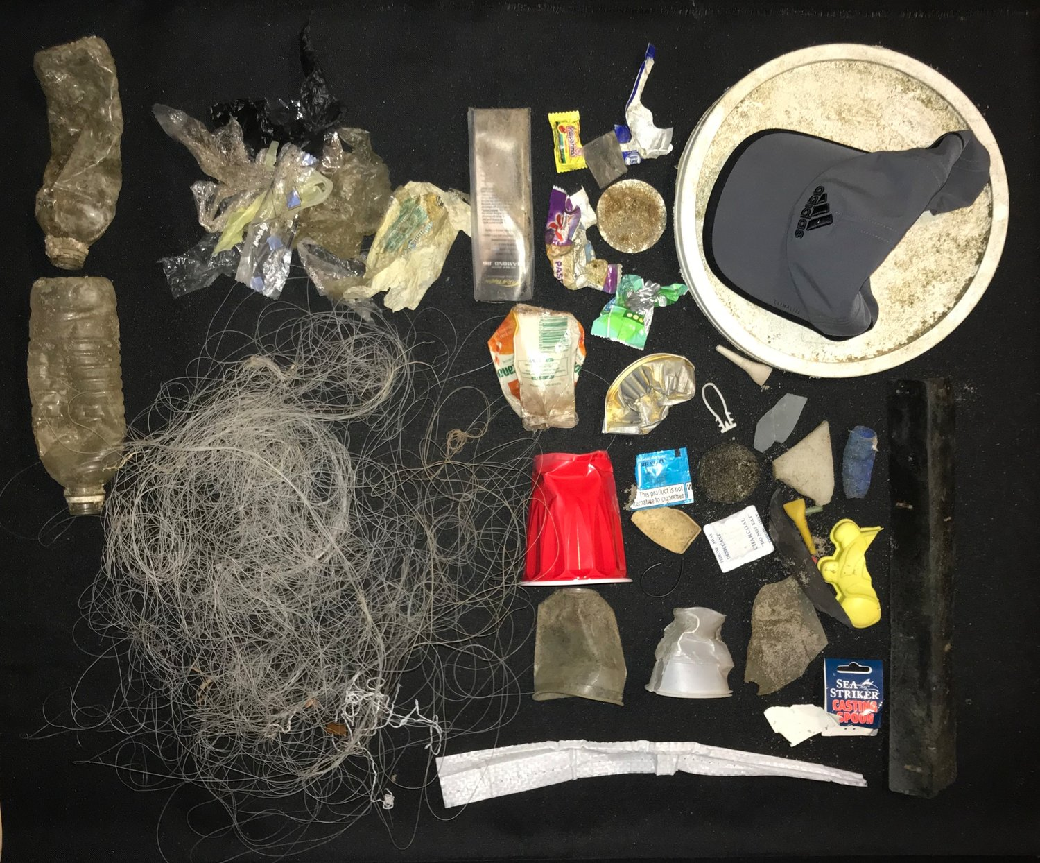 Some of Jacqueline LeDuc's finds duri9ng her trash pick up on Jones Beach included fishing line and even a practically new Adidas hat.