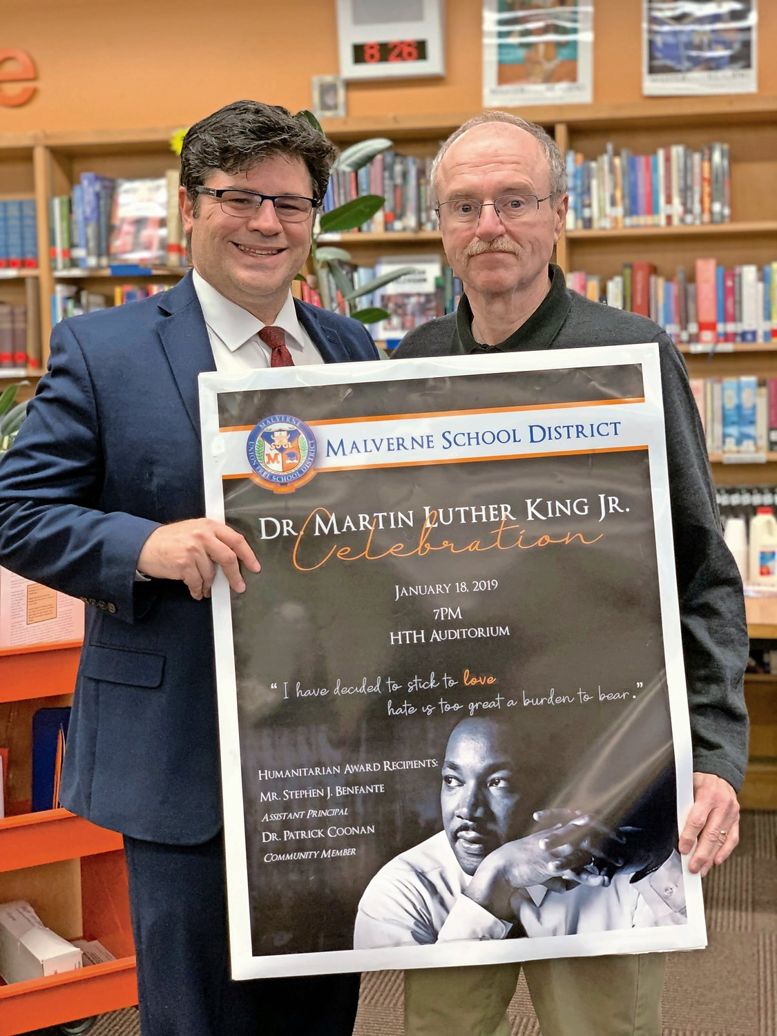 Davison Avenue Assistant Principal Stephen Benfante, left, and community leader Patrick Coonan will both be bestowed with the district's annual Dr. Martin Luther King Jr. Humanitarian Award on Jan. 18.