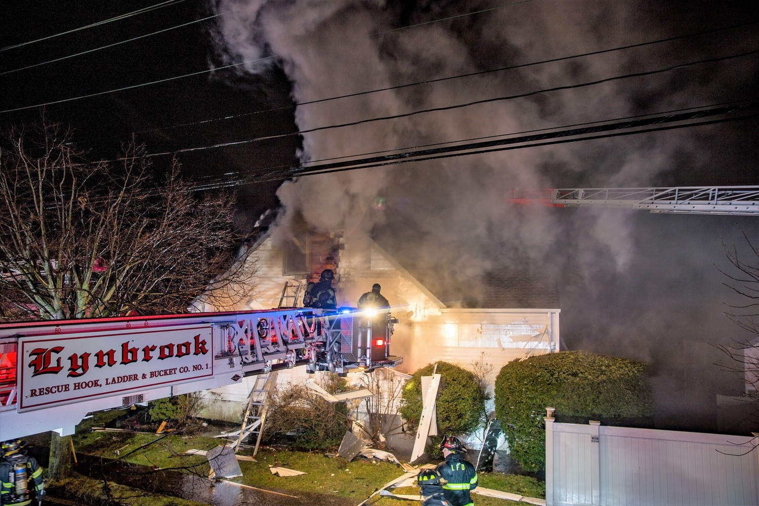 Members of the Lynbrook Fire Department responded to a Christmas Eve blaze at a house on Linden Street.