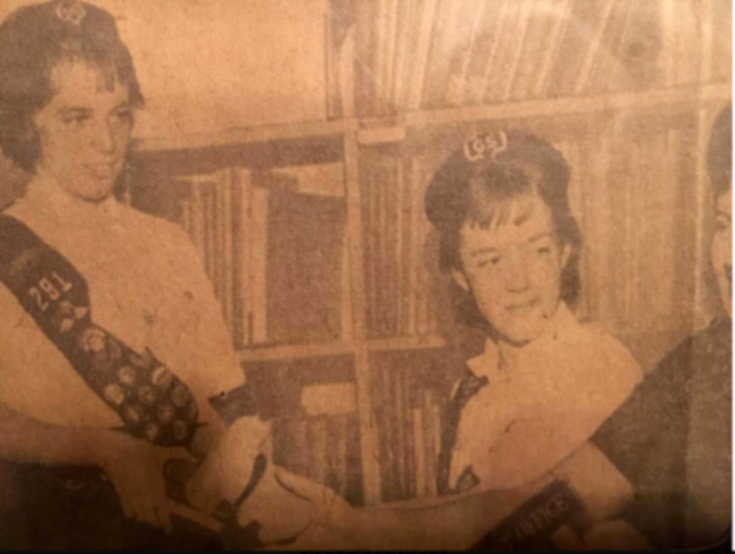 Gay Bowen Burdick, left, with friend Judy Parks, volunteered in the old library, near Foxhurst Road.