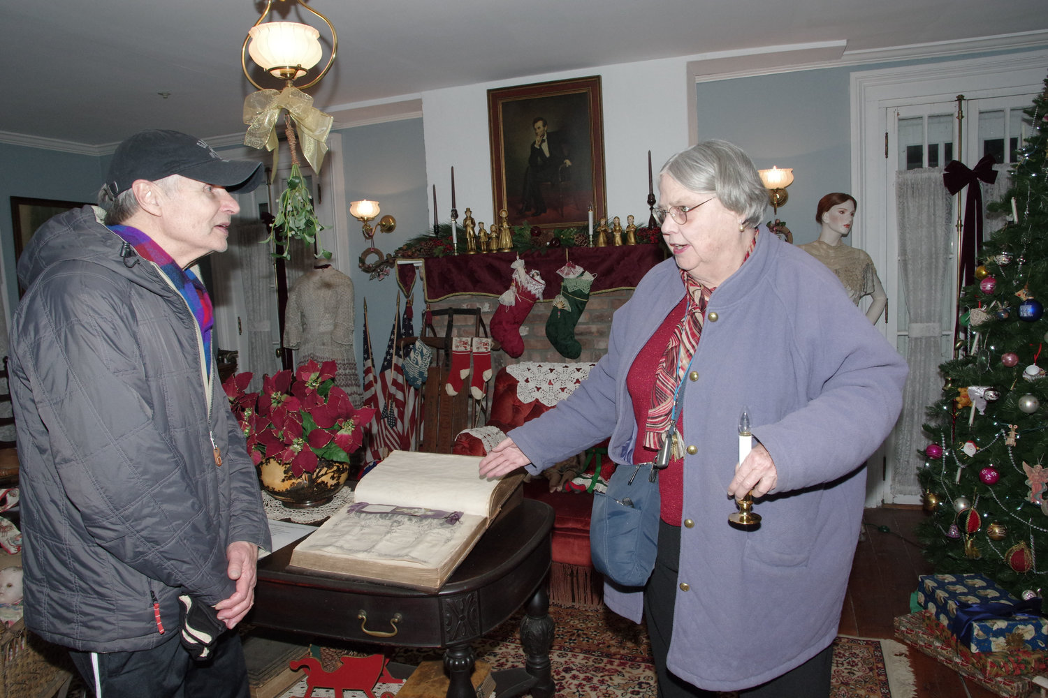 Historical Society member Elizabeth Bailey gave a tour to visitor Ron Jones.