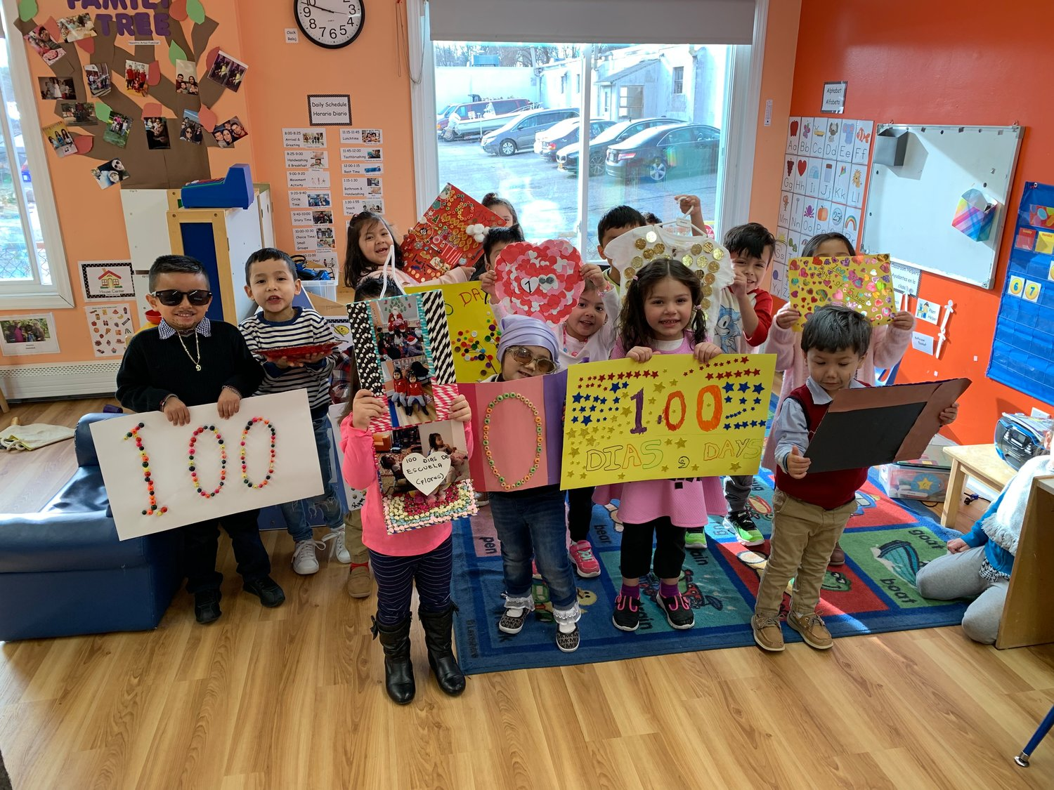 Three to five-year-olds in Tiffany Silva's and Alba Barbosa's classroom made all different sorts of projects for their 100th day of school.