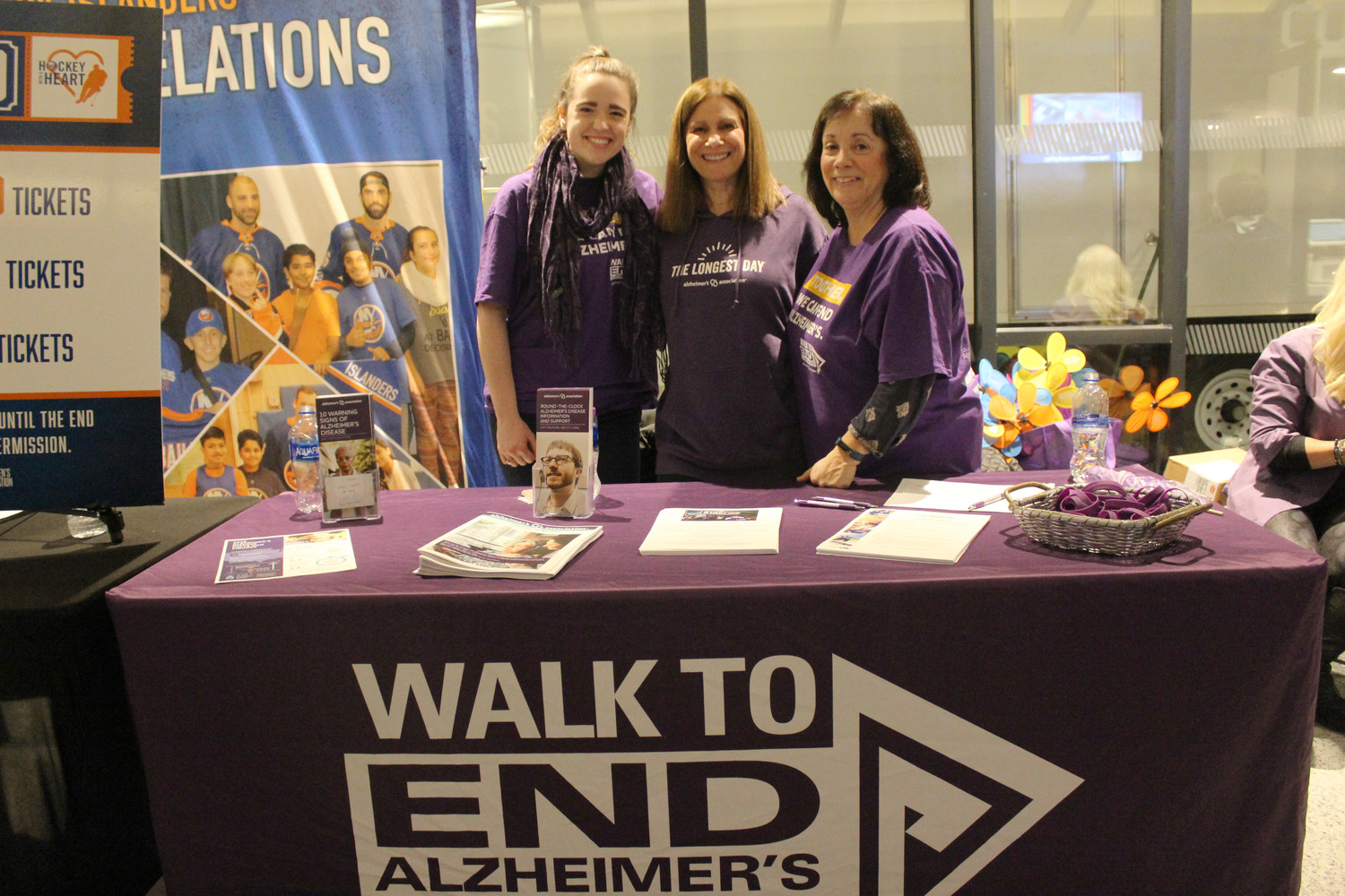 Krisitin Murphy, Judy Wichter and Karen Lambrinon volunteered to promote the Alzheimer's Association and sell raffle tickets.