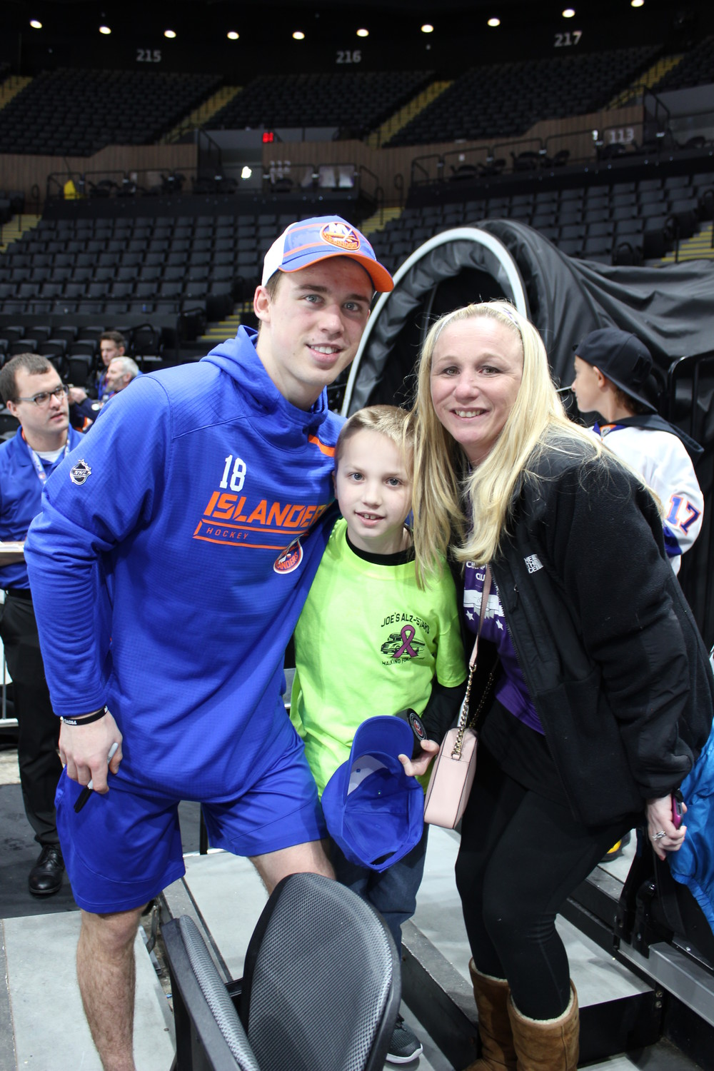 Anthony Beauvillier's guests of honor at Alzheimer's Awareness Night were Ryan Warner, 8, of Bethpage, and his mother, Mary Ellen.