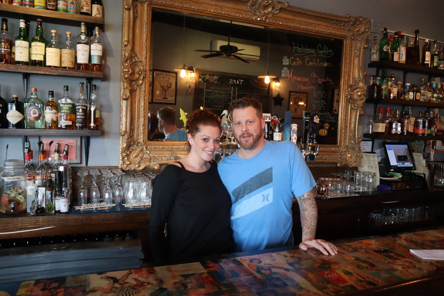 Maria Pallotta and Michael Cassano in American Beauty Bistro, which they own. The couple are the new owners of the original Effin Gruven location, and hope to revive the Bellmore cornerstone.