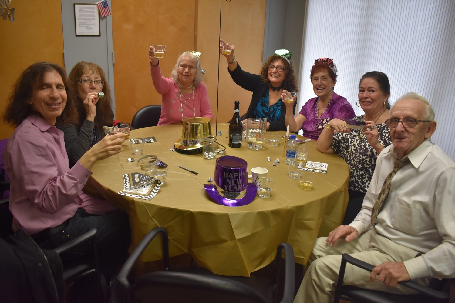 Sandel Center seniors raised a toast  after a countdown to what signified midnight on New Year's Eve.