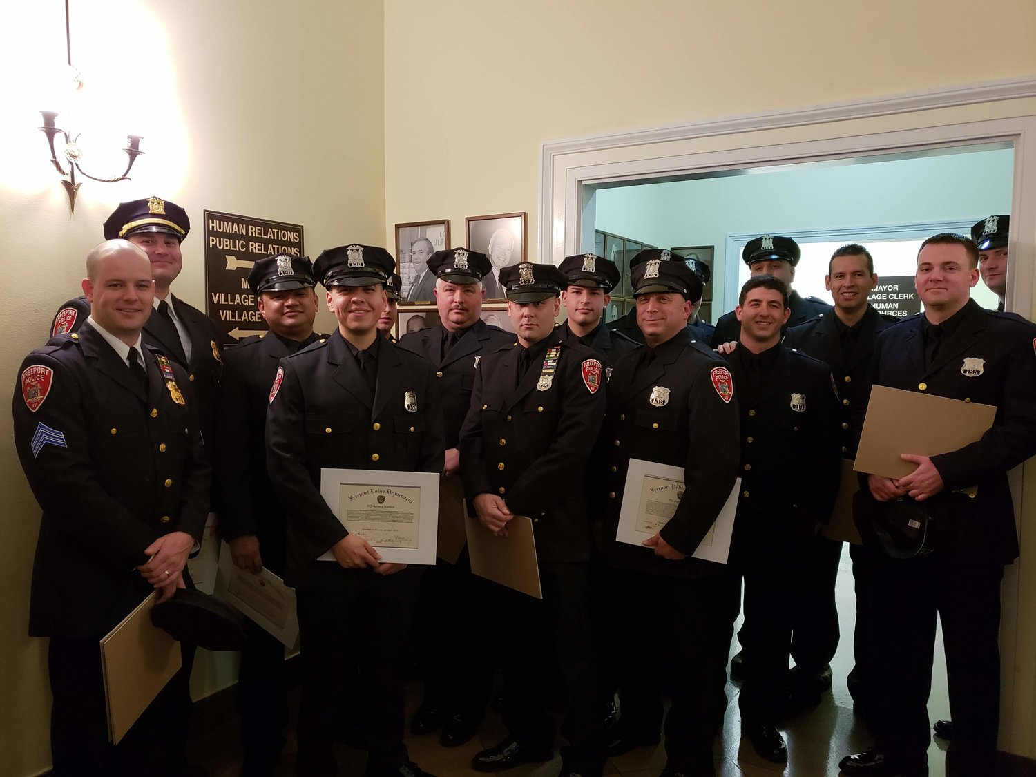 Freeport Police Department officers along with Nassau County Police Department officers were presented with Police Awards during the Village of Freeport Board of Trustees meeting on Jan. 7.