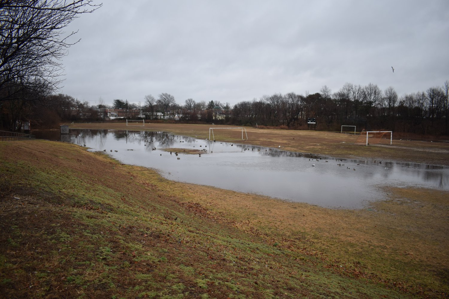 "Dutch Broadway Park hosts several events for Elmont residents, but large puddles form when it rains. Residents refer to the park as ""Lake Elmont."""