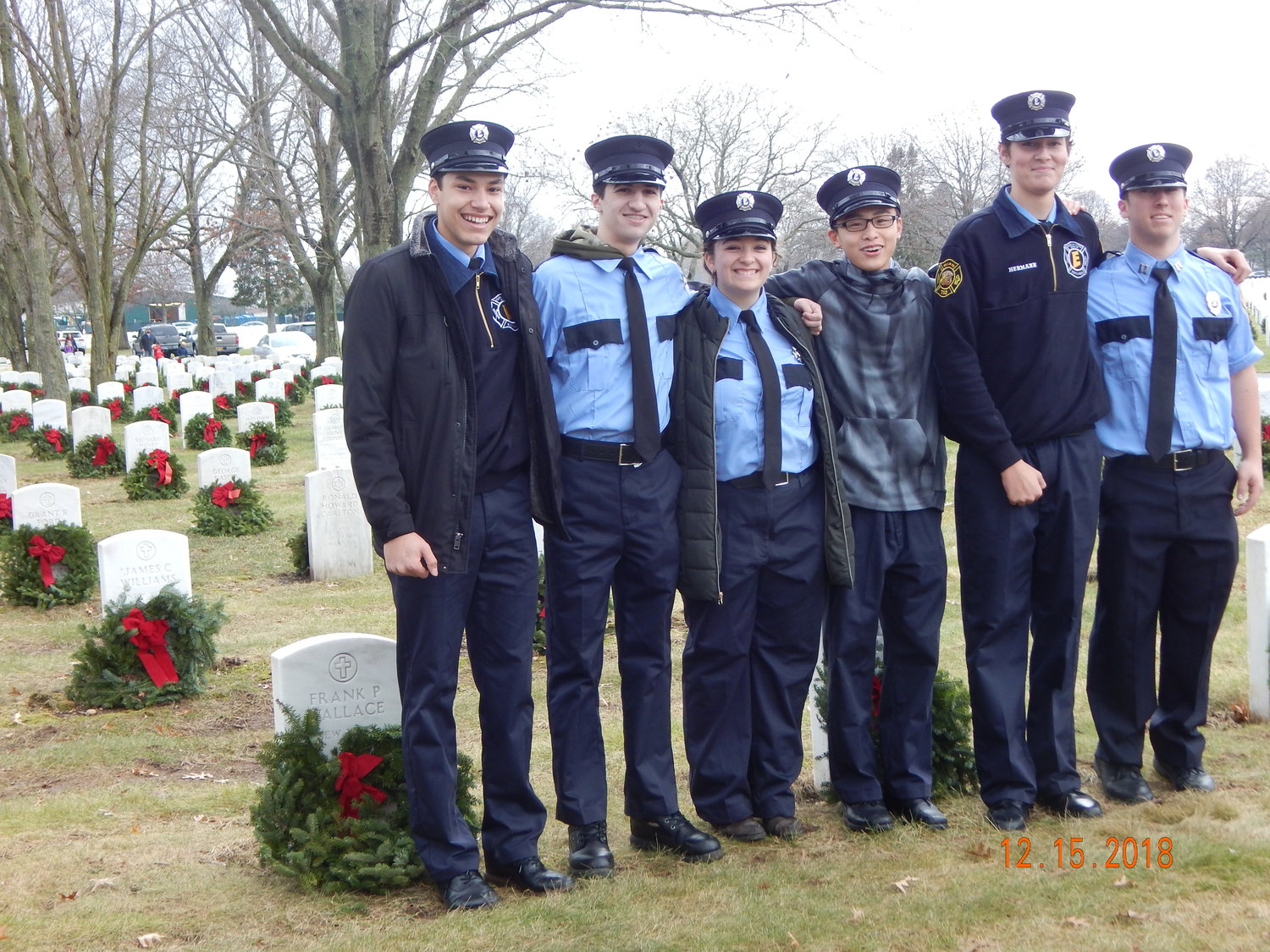 Six members of the Franklin Square & Munson Fire Department Explorer Post 710 took part in the 2018 Wreath Across America Day on Dec. 15.