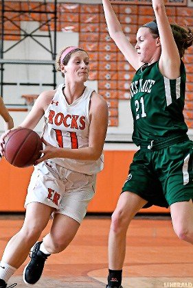 East Rockaway senior Brooke DeGiulio, left, scored 14 points in last Saturday's loss to Carle Place and is approaching the 1,000 milestone for her career