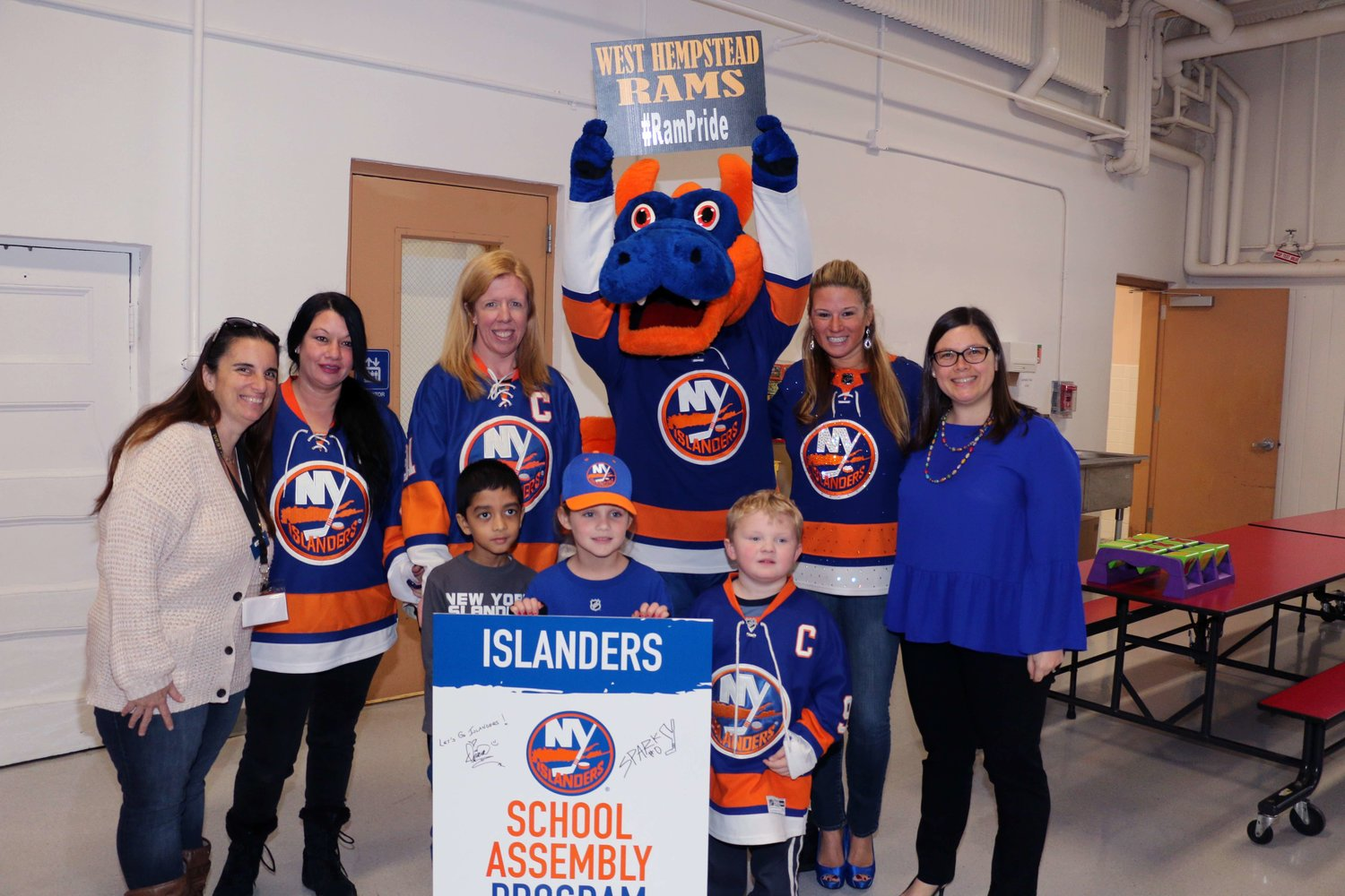 Sparky showed off New York Islanders and West Hempstead pride during an assembly at Chestnut Street School on Jan. 3.