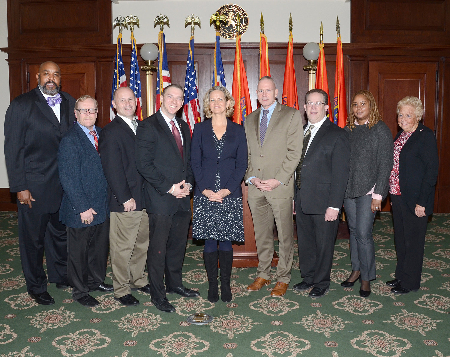 Nassau County Executive Laura Curran, center, recently created a task force to study the potential impacts legal marijuana might have on the county.
