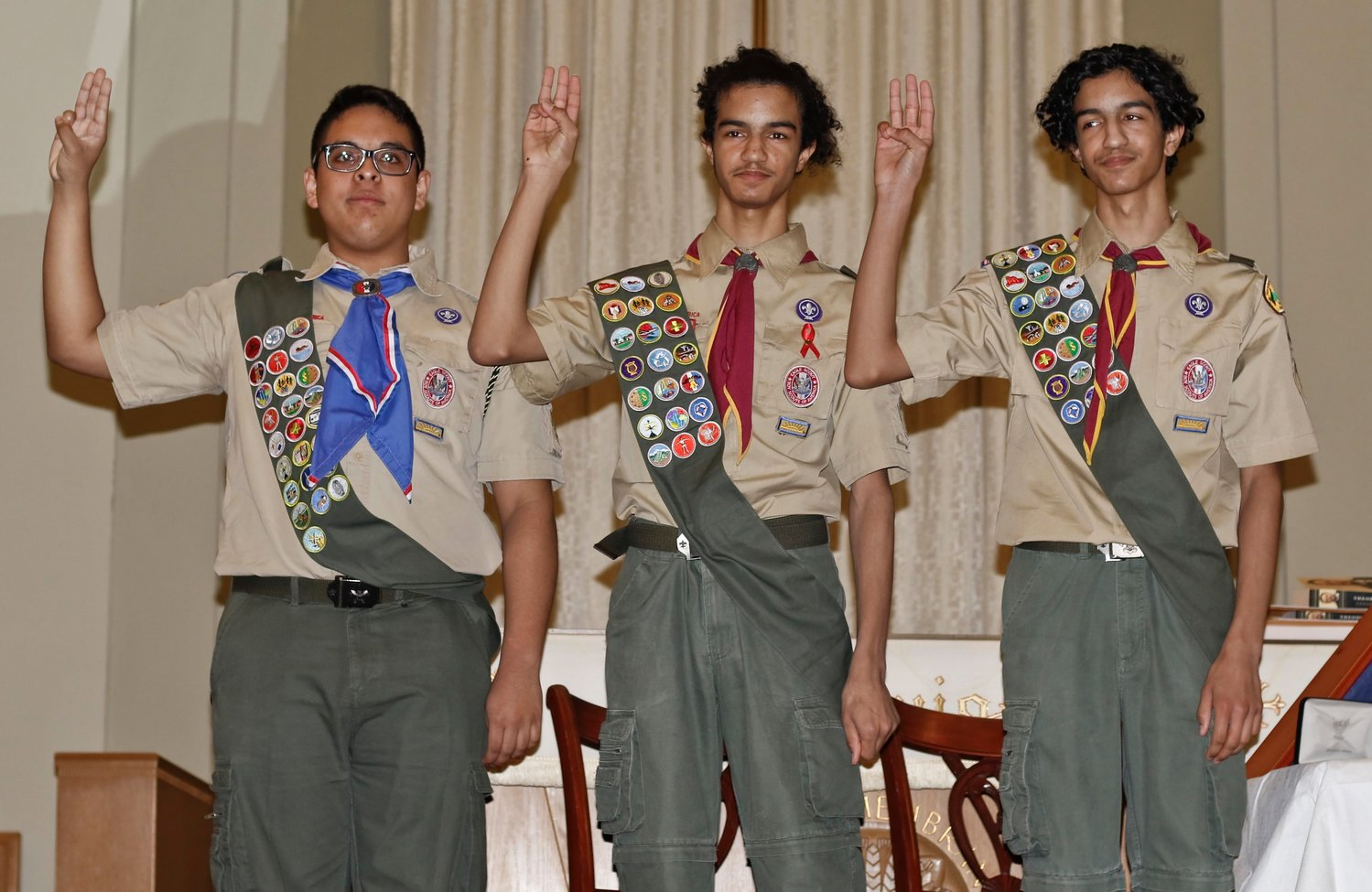 Troop 109's newest Eagle Scouts Dylan Roca, Matthew Tineo and Nicolas Tineo took their Eagle Oath on Jan. 5.
