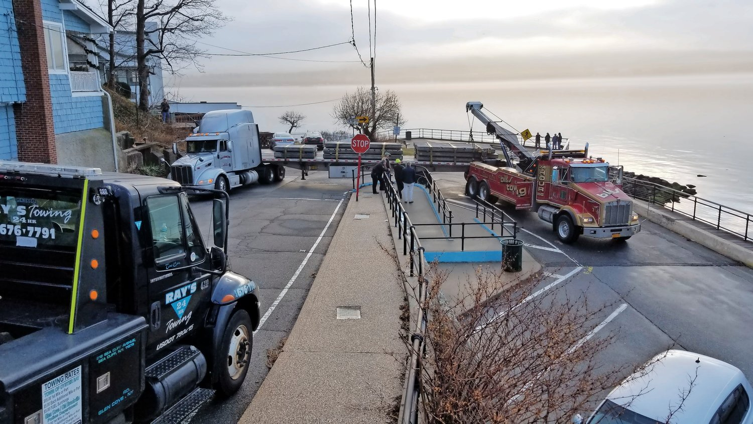 A truck driver traveling through Sea Cliff on Jan. 8 accidentally wedged his eighteen-wheeler into a hairpin turn at the end of The Boulevard.
