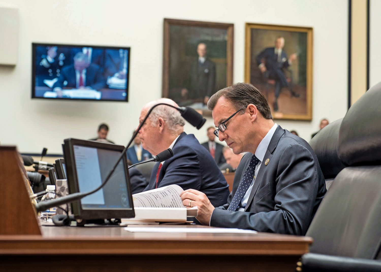 U.S. Rep. Tom Suozzi in Washington during a House Armed Services Committee hearing in June 2017. His recent appointment to the House Ways and Means Committee means that he cannot serve on any other committees.