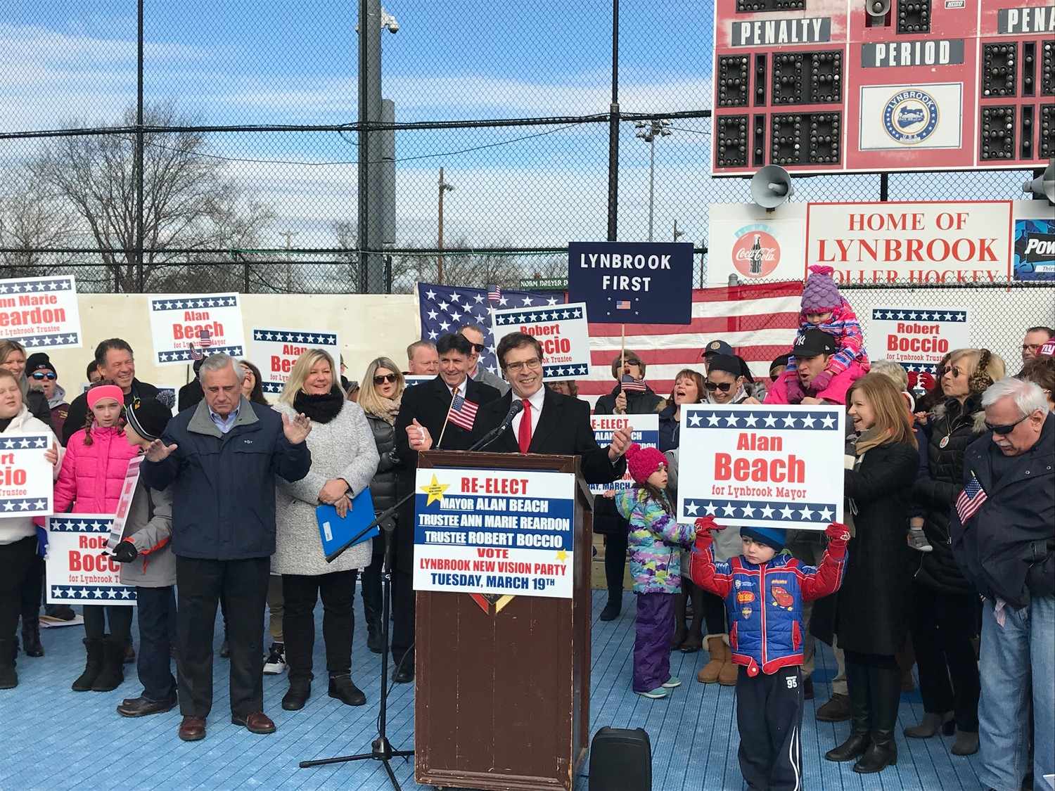 Standing before dozens of supporters, Mayor Alan Beach detailed his plan to run for re-election on March 19 on the Lynbrook New Vision Party line, along with Trustees Ann Marie Reardon and Robert Boccio.